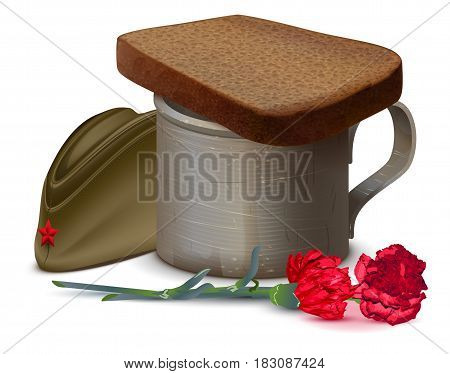 War mug with water, bread, red carnation flower and military cap. Symbol of memory of dead. Isolated on white vector illustration