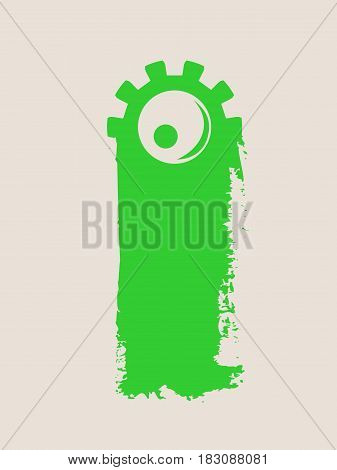 Background with cartoon monsters eye. Grunge brush with gear