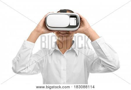 Schoolgirl with virtual reality glasses on white background