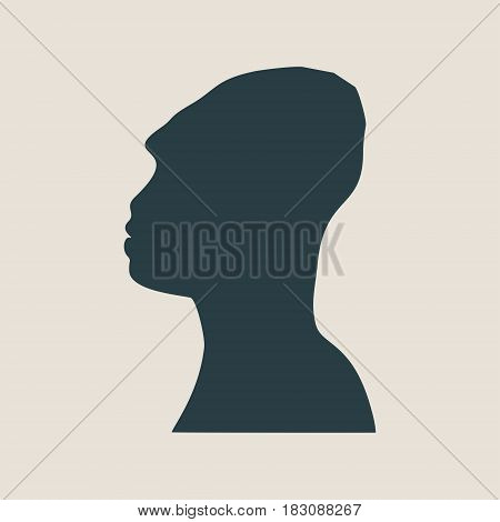 Prehistoric man vector portrait. Man avatar profile view. Isolated male face silhouette or icon . Vector illustration.