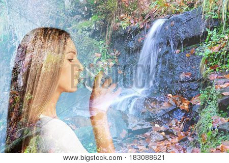 Double exposure of waterfall and young woman drinking water