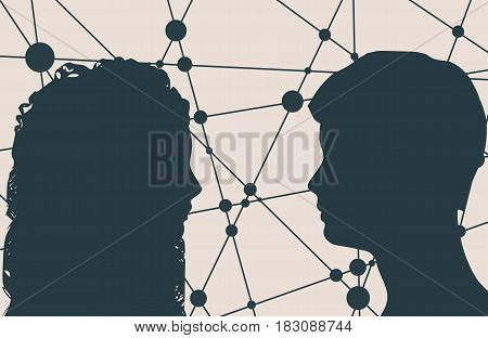 Man and woman silhouettes looking at each other. Happy valentines day and wedding design elements. Side view. Communication Background. Brochure or banner design. Connected lines with dots