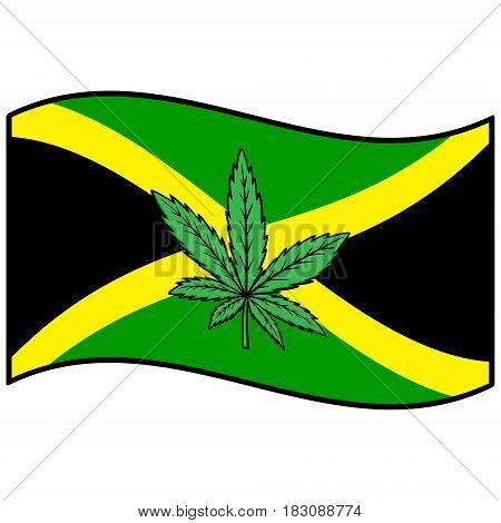 A vector illustration of a Jamaican flag with Marijuana.