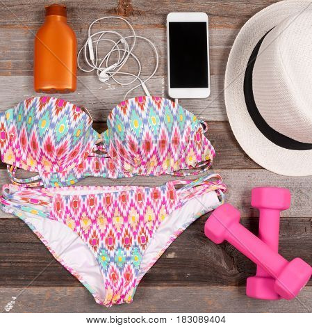 Female Swimsuit Beach Accessories On White Background.