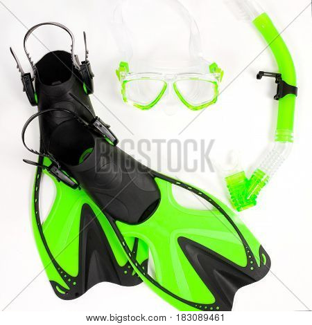 Flippers, Mask And Snorkel On A White Background