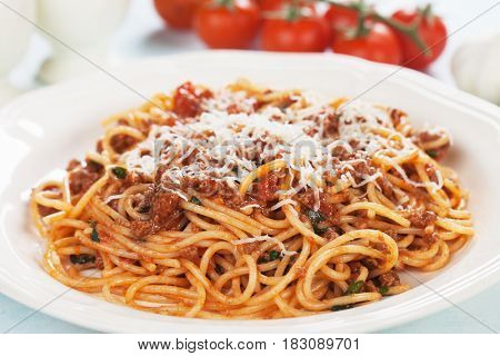 Italian spaghetti pasta in ground beef and tomato sauce bolognese
