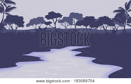 River scenery with forest silhouette vector illustration