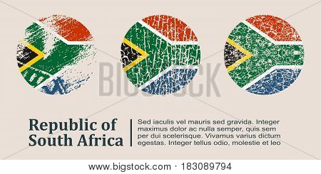 South Africa flag design concept. Flags collection textured in grunge style with country name. Image relative to travel and politic themes. Translation of the inscription: South Africa