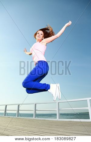 Attractive Girl Young Woman Jumping Sky