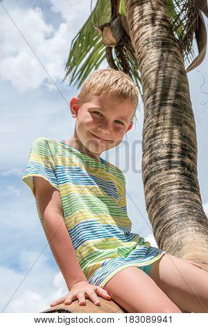 adorable happy boy sitting on palm tree sea beach
