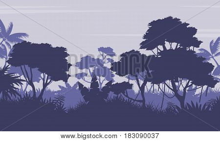 Silhouette of forest on purple background vector landscape