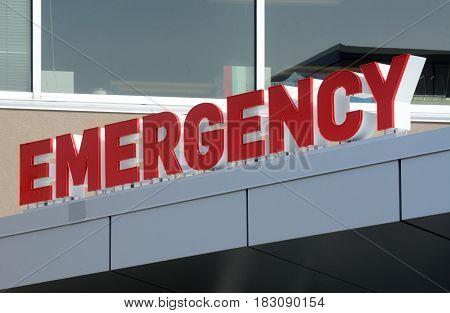 Emergency sign marking emergency entrance at hospital