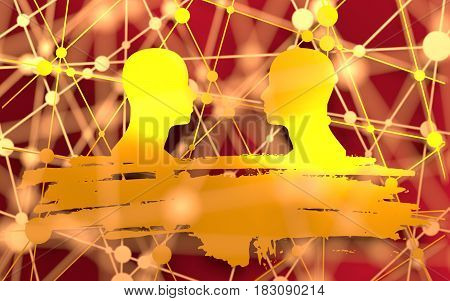 Human Communication Background. Connected circles with dots. Two man silhouettes looking at each other. Grunge brush stroke. Abstract business meeting. Social network 3D rendering. Metallic material