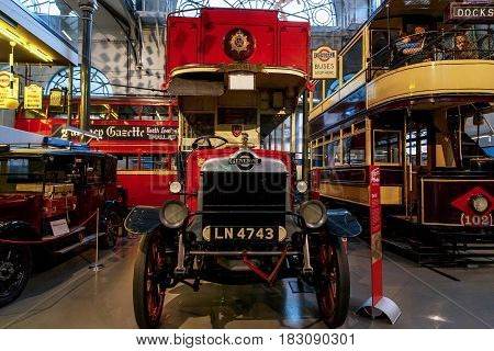 LONDON, GREAT BRITAIN - MAY 23, 2014: This is an one of the first dounle-deckers in the London Transport Museum.