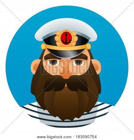Portrait of captain. Cartoon image. Vector illustration