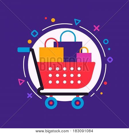 The shopcart full of purchases flat design illustration with the trendy colors and backround with the geometric elements circles lines triangles.