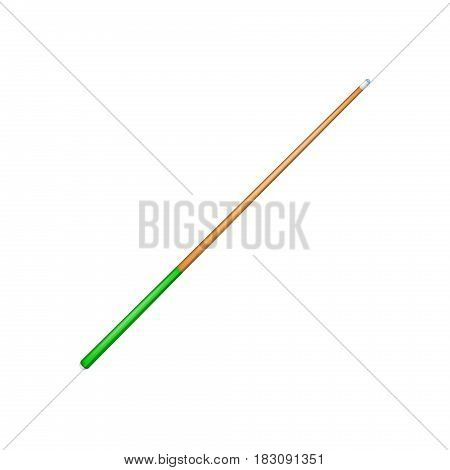 Billiard cue with green handle on white background