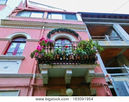 Beautiful balcony in the Taormina, Sicilia Island, Italy
