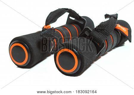 Sports dumbbells in black on white background