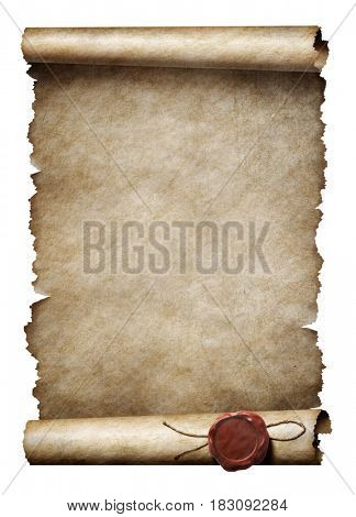 old parchment scroll with wax seal isolated 3d illustration
