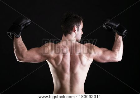 Strong Athletic Muscle Man Sports Guy Showing His Muscles