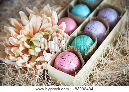 assorted colorful painted easter eggs in a gift box on wooden background