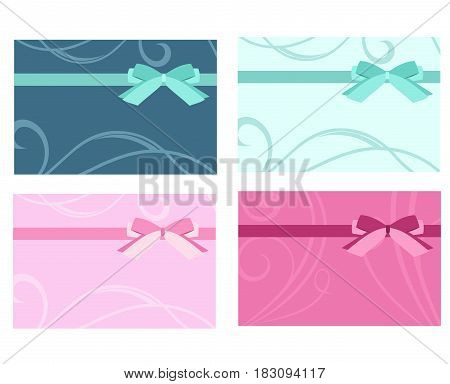 Set of gift card template vector. Card template with pink, blue bow and ribbons. Vector template for design invitation, certificate, coupon, gift or discount card.