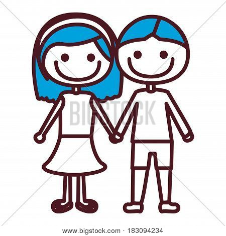 hand drawing silhouette caricature couple with blue hair in suit informal with taken hands vector illustration