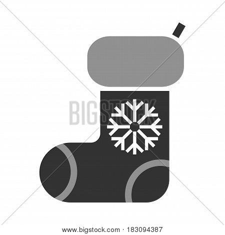 Stocking. Christmas symbol, black flat icon. Illustration for design