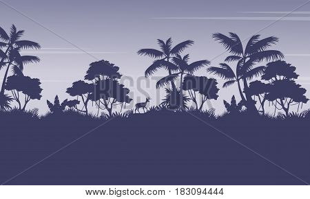 Silhouette of jungle with deer scenery vector art
