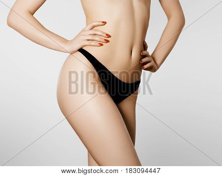 Perfect Slim Young Body. Sports , Fitness Or Plastic Surgery And Aesthetic Cosmetology. Beautiful Wo