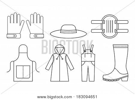 Protective clothing for working in the garden. Flat linear icons, objects of work clothing. Illustration