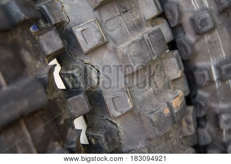 Crack,Dirty, Used Motocross Bike tire Concept for article
