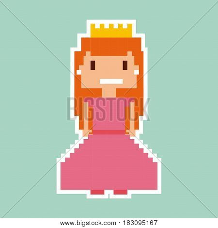 princess video game pixelated character vector illustration design