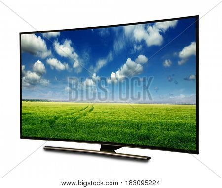 4k monitor isolated on white. tv with the nature view