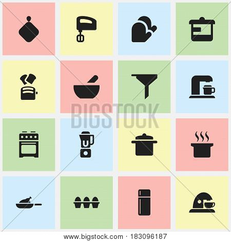 Set Of 16 Editable Food Icons. Includes Symbols Such As Soup, Egg Carton , Hand Mixer. Can Be Used For Web, Mobile, UI And Infographic Design.