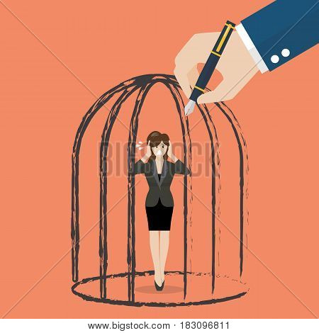 Business woman standing in a hand drawn cage. Business concept
