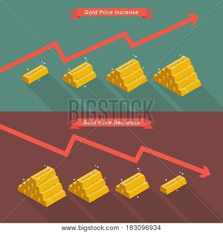 Gold with price chart. Vector illustration cartoon