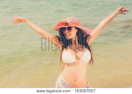 Beautiful Attractive Large Breast Asian Bikini Woman Posing Sexy Happy  Portrait On Beach