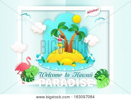 Summer landscape in paper craft style. Welcome to Hawaii card. Aborigine girl waves hand and say Aloha! Paradise island concept vector illustration with flamingo palms beach ocean waves seagulls