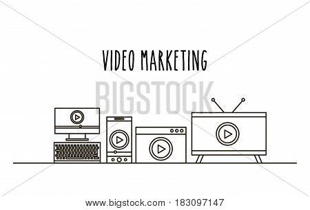 video marketing flat line icons vector illustration design