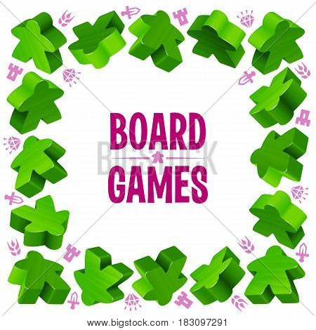 Square frame of green meeples for board games. Game pieces and resources counter icons isolated on white background. Vector border for design boardgames advertisement or template of geek t-shirt print
