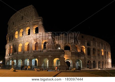 Panorama of Rome Colosseum by night Italy