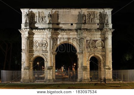 The Arch of Constantine in Rome by night