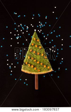Avocado pie in the form of a Christmas tree