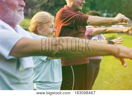 Photo Gradient Style with Senior Adult Exercise Fitness Strength