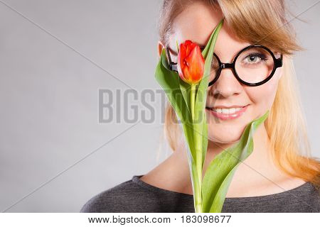 Girl With Tulip Feel Connection To Nature.