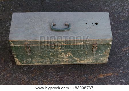 Old Wooden Box With Cracked Paint