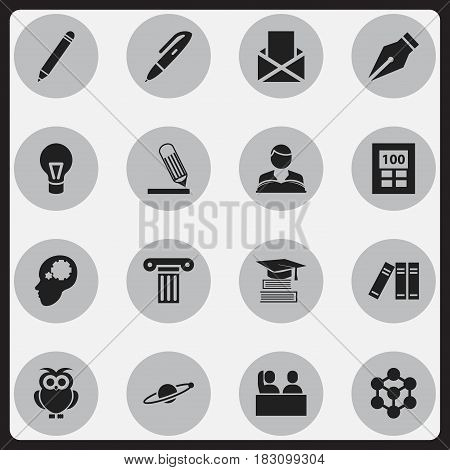 Set Of 16 Editable Science Icons. Includes Symbols Such As Student, Studying Boy, Astrology And More. Can Be Used For Web, Mobile, UI And Infographic Design.