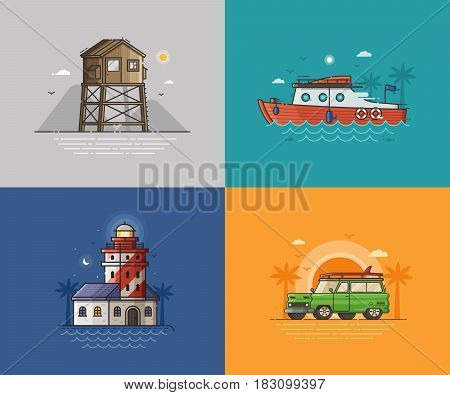 Travel seaside landscapes set with different sea coast scenes. Summer beach backgrounds with lighthouse, lifeguard tower, motor boat and surfing van by sunset. Summer holidays concept illustrations.